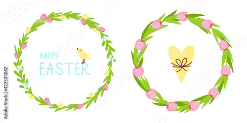 Vector set of two flower wreath. Easter wreath with tulip flowers and leaves, with yellow heart and bird, Happy Easter text. Flat illustration.