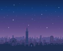 Taipei City Skyline, Taipei 101, Night Sky Stars Vector Illustration