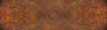 Grunge Rusty Orange Brown Metal Corten Steel Stone Background Texture Banner Panorama