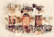 Watercolor Painting Of Retro Romantic Restaurant In Italy