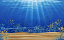 Underwater Sea With Wave In Deep Blue In Island,Bottom Of Ocean With Sun Ray Shining Through Underwater Creatures,coral Reef,Silhouette Of Coral,Vector Horizon Marine Or Sea Life For Summer Background