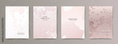 Fototapeta Set of abstract creative universal cover templates. Trendy texture with spots on a beige background. Vector collection for beauty catalog, notebooks, brochures, books, social media posts, banners. obraz