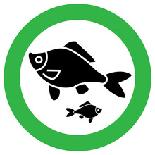 Fishing Allowed Sign, Modern Round Sticker
