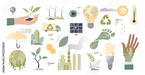 Climate action and sustainable environment lifestyle set tiny person concept