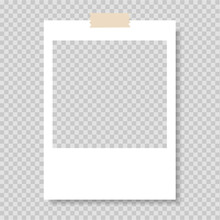 Polaroid Frame, Vector. Photo Frame. Frame-border Template With Adhesive Tape. Gray Background. Vector Illustration