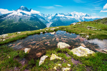 Fantastic View With Stones In The Water On The Background Of Mont Blanc In The French Alps, Europe On A Sunny Morning.