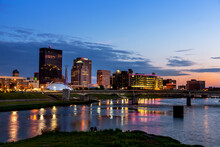 RiverScape View Of Dayton, Ohio's Skyline With New, Exclusive Water Street Apartments Along The Great Miami River
