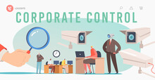 Corporate Control Landing Page Template. Business Characters Under Chef Observation At Work, Hand Hold Huge Glass
