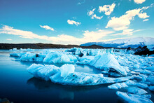 Magical Beautiful Landscape With Ice Depths In The Famous Jokulsarlon Glacial Lagoon In Iceland. Exotic Countries. Amazing Places. Popular Tourist Atraction. (global Warming – Concept)