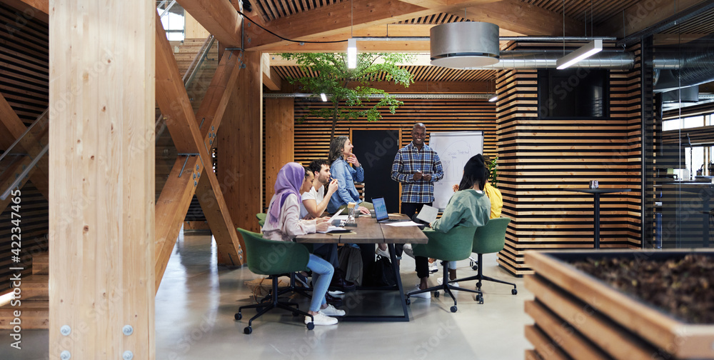 Fototapeta Diverse businesspeople smiling while having an office meeting