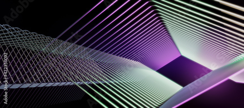Fototapeta Abstract dark background with geometric lines in green and purple colors obraz