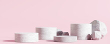 White Stone Podium, Cosmetic Display Product Stand On Pink Background. 3D Rendering