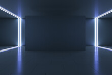 Empty Black Wall Screen In Gallery Hall With Dark Ceiling, Floor And Glowing Lines On The Corners