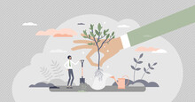 Plant A Tree As Corporate Environmental Responsibility Tiny Person Concept