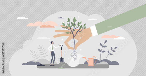 Obraz Plant a tree as corporate environmental responsibility tiny person concept - fototapety do salonu