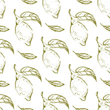 Lemon Hand Draw Seamless Pattern Background Wallpaper. Cute Seamless Pattern With Lemons. Vector Seamless Pattern With Lemon, Leaves And Flower. Citrus Line Seamless Background.