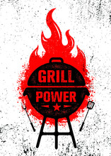 Grill Power Barbeque. Outdoor Charcoal Restaurant And BBQ Menu Vector Design Element On Rough Background. Fire Flame Illustration On Grunge Wall