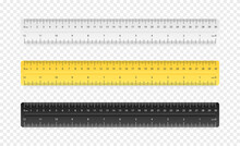 Set Of Three Rulers On Transparent Background. Plastic Yellow, Black, Gray Insulated Rulers With Double Side Measuring Inches And Centimeters. Rulers 30 Cm Scale In Realistic Style. Vector