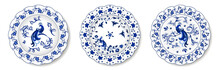 Set Of Porcelain Plates With Traditional Blue On White Design In Chinese Style. Floral Ornament With Exotic Flower And Peacocks. Vector Illustration