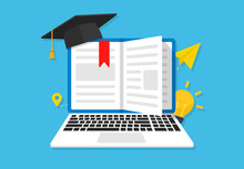Online Education Concept Banner Flat Illustration. Book Icon Flat And Laptop Vector Illustration