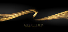Abstract Shiny Color Gold Wave Luxury Background With Golden Glitter Sparkles
