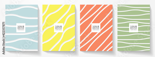 Fototapeta Modern cover design set. Abstract wavy line pattern (curve) in blue, yellow, red, green color. Creative stripe vector collection for business background, brochure template, vertical flyer obraz