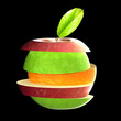 3d rendering of various type of fruit slices stacked