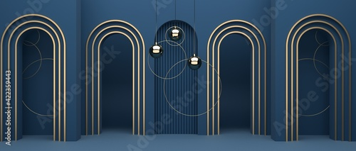 Fotografia, Obraz Abstract geometric background of blue decorations