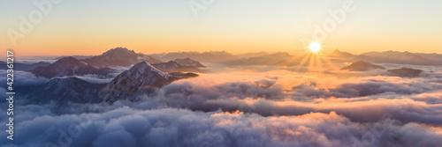 Fototapeta Aussicht vom Herzogstand, Sonnenaufgang am Walchensee