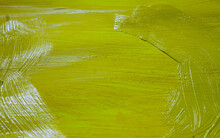 Yellow And Green Painted Metal Texture Background With Paint Peeling Off
