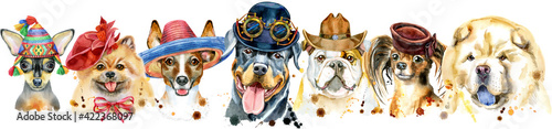 Fotografie, Obraz Border from watercolor portraits of dogs for decoration
