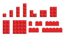 Set Of Building Bricks In Red Color