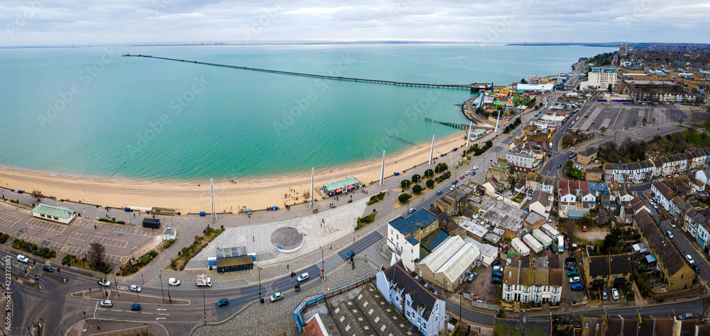 Fototapeta Aerial view of the Southend Pier, a major landmark in Southend-on-Sea and the longest pleasure pier in the world