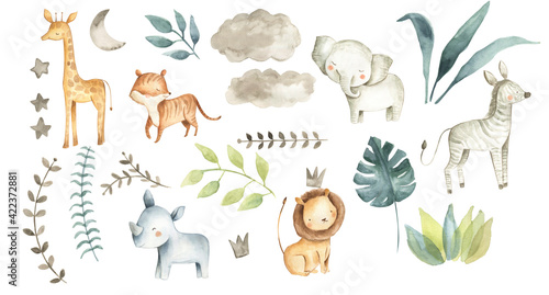 Safari animals watercolor illustration baby nursery