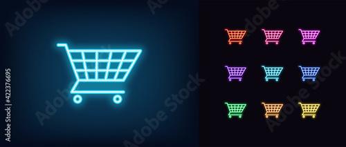 Fotografie, Tablou Neon shopping cart icon