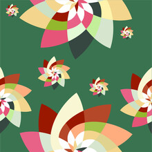 Graphic Flower Scatter Pattern Background Teal Peach