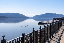 Newburgh, NY - USA - Mar. 21, 2021: Landscape View Of Newburgh's Trendy River Front, Looking South Down The Hudson River.