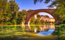 Ponte Della Concordia, Roman Bridge And River Metauro. Fossombrone, Marche, Italy.