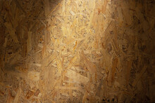 Aged Osb Wooden Background Of Table Or Wall Texture. Chipboard Wood Background