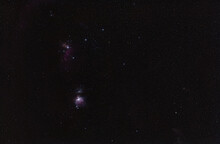 Winter Night Sky With Purple Orion Nebula Many Spiked Stars Visible