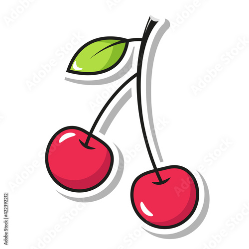 Tela sweet cherries on a branch in the style of pop art sticker
