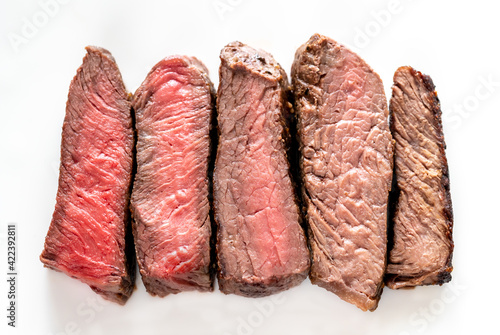 Fototapeta Beef steak: degrees of doneness obraz