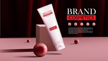 Ad Template For Beauty Product. Beauty Body Care Product With Red Silk Draped Fabric Background,vector Illustration.
