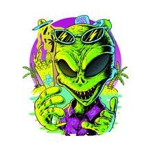 Alien Summer T-shirt Design