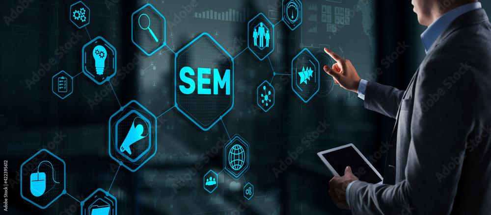 Fototapeta SEM Search Engine Optimization Marketing Ranking Traffic Website Technology Communication Concept