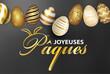 canvas print picture - carte ou bandeau sur Joyeuse Pâques en blanc et or avec en haut  une ligne d'oeufs de couleur or noir et blanc sur un fond gris en dégradé