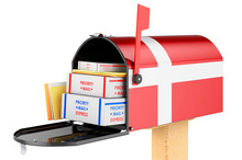 Mailbox With Danish Flag With Parcels, Envelopes Inside. Shipping In Denmark, Concept. 3D Rendering