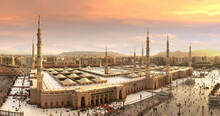 Mind-blowing Visual  Sunset Over The Madinah Masjid