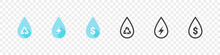 Water Drops. Water Or Oil Drop Signs. Water Drop Shape With Dollar, Energy, Recycle Signs. Vector Illustration
