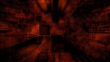 Futuristic, Orange Digital Grid Background. Network Tech Wallpaper. 3D Render